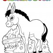 Coloring book donkey theme 1 — Stock Vector