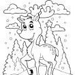 Coloring book reindeer theme 1 - Stockvectorbeeld