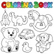 Coloring book toys theme 1 — Stok Vektör