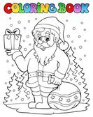 Coloring book Santa Claus topic 6 — Stock Vector