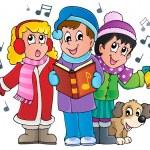tema de cantantes carol de Navidad 1 — Vector de stock
