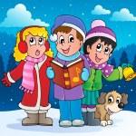 tema de cantantes carol de Navidad 2 — Vector de stock
