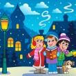 tema de cantantes carol de Navidad 3 — Vector de stock