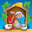 Stock Vector: Christmas Nativity scene 3