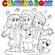 Coloring book carol singing theme 1 — Stock Vector