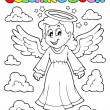Stock Vector: Coloring book image with angel 1