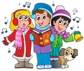 Christmas carol singers theme 1 — Stock Vector
