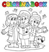 Coloring book carol singing theme 1 — Stock Vector