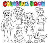 Coloring book family collection 1 — Stock Vector