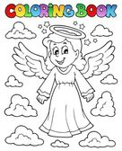 Coloring book image with angel 1 — Stock Vector