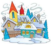 Winter town theme image 1 — Stock Vector