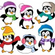 Cute penguins collection 3 — Stock Vector
