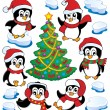 Cute penguins collection 4 — Stockvektor