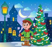 Christmas elf theme 2 — Stock Vector