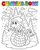 Coloring book Christmas snake 1 — Stock Vector