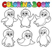 Coloring book cute penguins 1 — Stock Vector