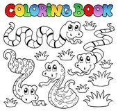 本を着色ヘビのテーマ 1 — ストックベクタ