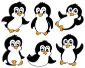 Cute penguins collection 1 — Stock Vector