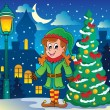 Christmas elf theme 6 - Stock Vector