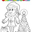 Coloring book Christmas elf theme 3 — Stock Vector