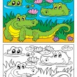 Coloring book crocodile image 2 - Stockvektor