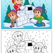 Coloring book winter topic 4 — Stockvektor