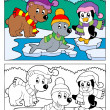 Coloring book winter topic 5 — 图库矢量图片
