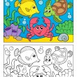 Coloring book with marine animals 5 - Stok Vektör