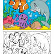 Coloring book with marine animals 6 - Vettoriali Stock