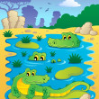 Image with crocodile theme 2 — Stock Vector