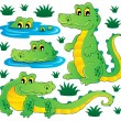 Image with crocodile theme 3 — Stock Vector