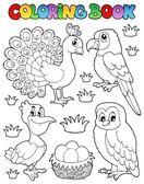 Coloring book bird image 4 — Stock Vector