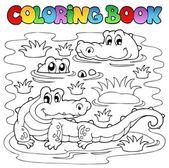 Coloring book crocodile image 1 — Stock Vector