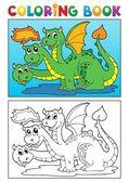 Coloring book dragon theme image 4 — Stock Vector