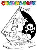 Obarvení kniha pirát papoušek téma 1 — Stock vektor