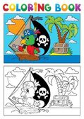 Coloring book pirate parrot theme 3 — Stock Vector