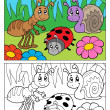Stock Vector: Coloring book bugs theme image 5