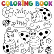 Coloring book ladybug theme 1 - Stock Vector
