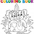 Coloring book rabbit theme 2 - Stock Vector