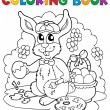 Coloring book rabbit theme 3 - Stock Vector