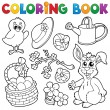 Stock Vector: Coloring book with Easter theme 6