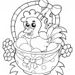Coloring book with Easter theme 8 - Stock Vector