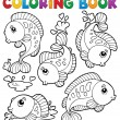 Coloring book with fish theme 1 - Stock Vector