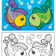 Coloring book with fish theme 2 — Stock Vector