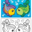 Coloring book with fish theme 2 - Stock Vector