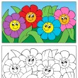 Coloring book with flower theme 1 - Stock Vector