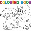 Coloring book with happy kangaroo - Stock Vector