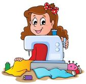 Cartoon girl with sewing machine — Stock Vector