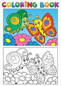 Coloring book butterfly theme 1 — Stock Vector