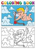Coloring book with Cupid 2 — Stock Vector